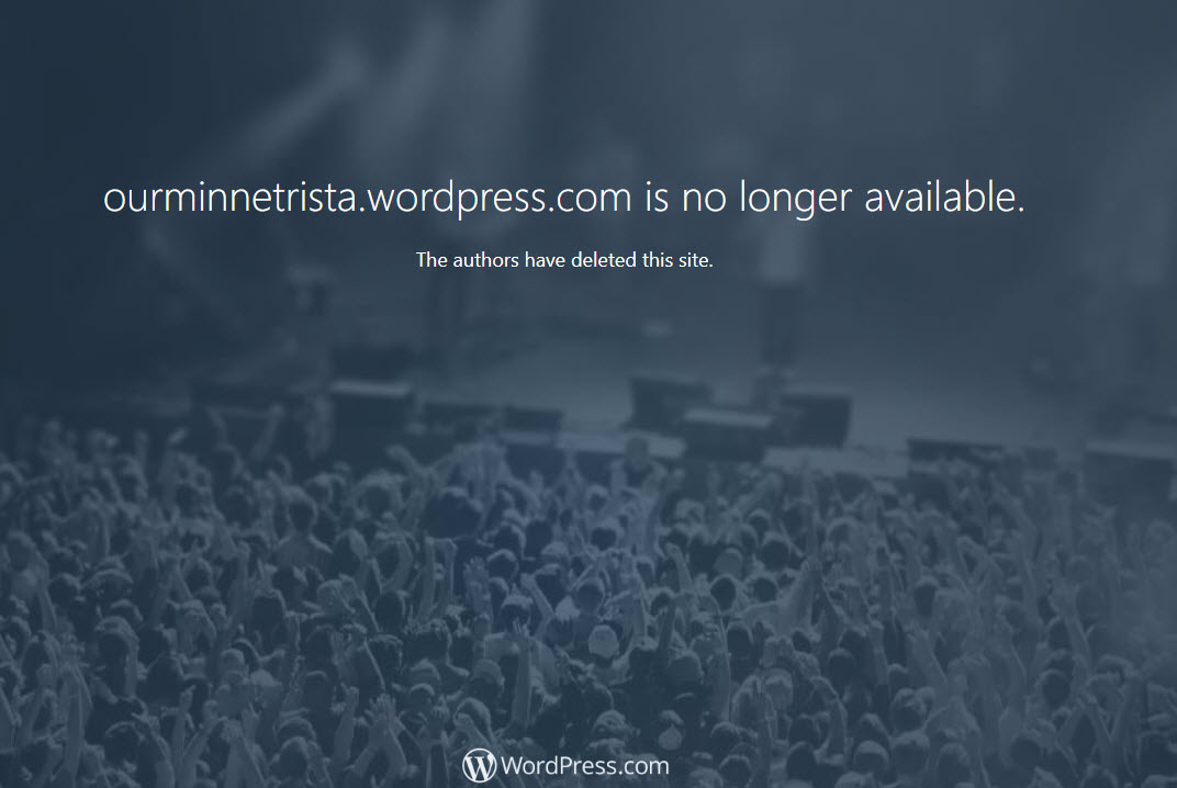 our minnetrista deleted  WP site