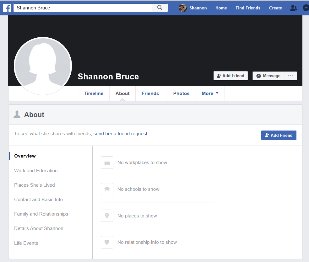 fake shannon bruce fb accounts