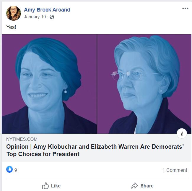 Amy Arcand Klobuchar Warren