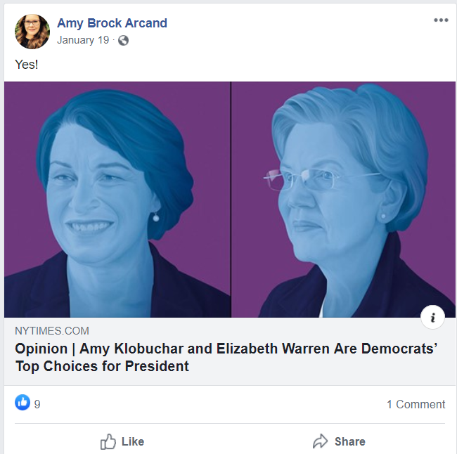 Amy Arcand Klobuchar Warren