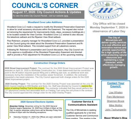 Council's corner 8-17-2020